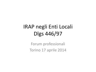 IRAP negli Enti Locali Dlgs 446/97