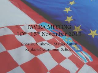 TAVIRA MEETING 1O th -15 th  November 2013