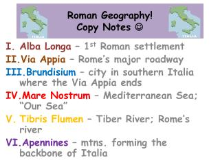 Roman  Geography! Copy Notes  