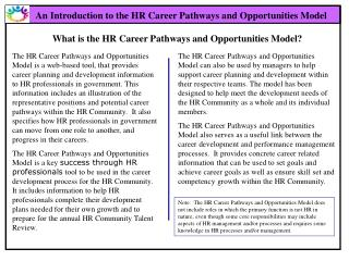 An Introduction to the HR Career Pathways and Opportunities Model