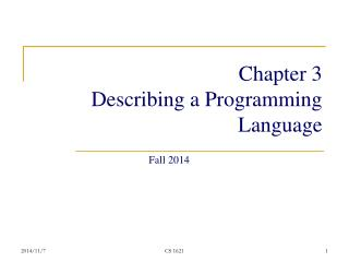 Chapter 3 Describing a Programming Language
