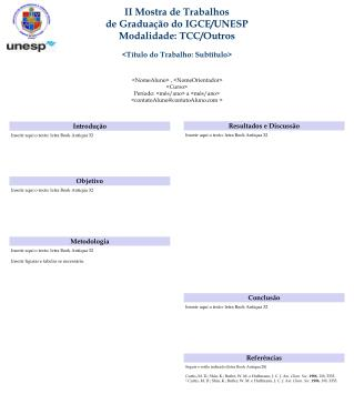 II Mostra de Trabalhos de Graduação do IGCE/UNESP Modalidade:  TCC/Outros
