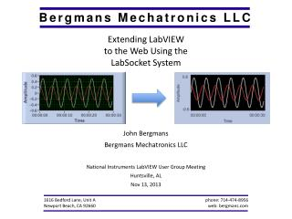 Extending LabVIEW to the Web Using the  LabSocket System John Bergmans Bergmans Mechatronics LLC