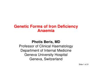 Genetic Forms of Iron Deficiency Anaemia