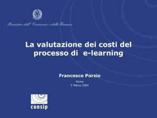 La valutazione dei costi del processo di  e-learning