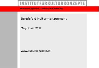 Berufsfeld Kulturmanagement