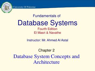 Fundamentals of Database Systems Fourth Edition El Masri & Navathe Instructor: Mr. Ahmed Al Astal