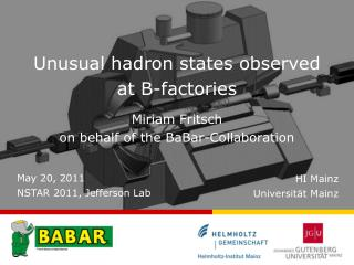Unusual hadron states observed at B-factories Miriam Fritsch on behalf of the BaBar-Collaboration