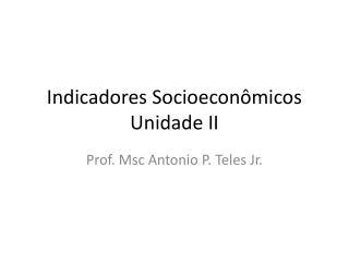 Indicadores Socioeconômicos Unidade II
