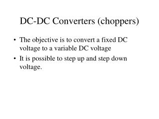 DC-DC Converters choppers