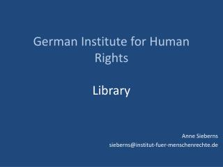 German Institute  for  Human  Rights Library