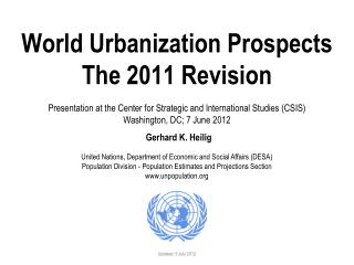 World Urbanization Prospects, 2011 Revision