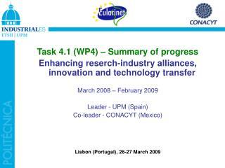 Task 4.1 (WP4) – Summary of progress