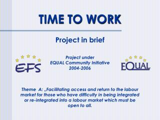 TIME TO WORK Project in brief