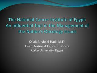 The National Cancer Institute of Egypt: An Influential Tool in the Management of the Nation s Oncology Issues