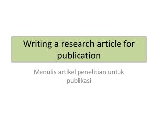 Writing a research article for publication