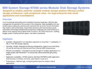 IBM System Storage N7000 series Modular Disk Storage Systems