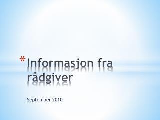 Informasjon fra rådgiver