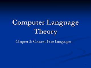 Computer Language Theory