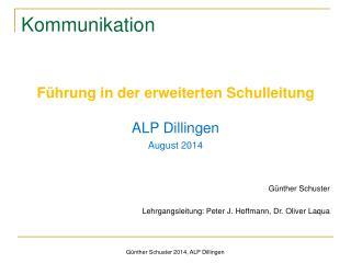 Günther Schuster 2014, ALP Dillingen