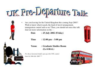UK Pre-Departure Talk