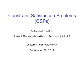 Constraint Satisfaction Problems (CSPs)