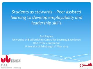 Students as stewards – Peer assisted learning to develop employability and leadership skills