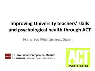 Improving University teachers' skills and psychological health through ACT