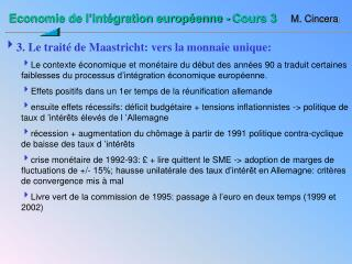 Economie de l'intégration européenne - Cours 3 M. Cincera