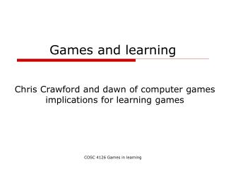 Games and learning