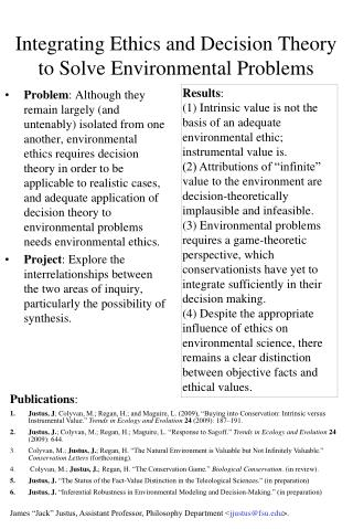 Integrating Ethics and Decision Theory to Solve Environmental Problems