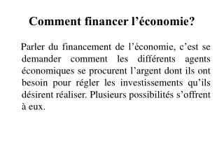 Comment financer l  conomie