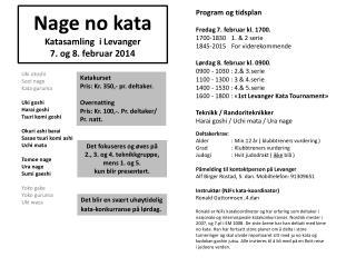 Nage  no kata Katasamling   i Levanger 7. og 8. februar 2014