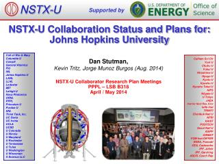 NSTX-U Collaboration Status and Plans for: Johns Hopkins University