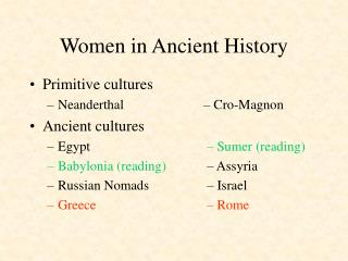 Women in Ancient History