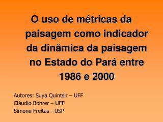 Autores: Suyá Quintslr – UFF Cláudio Bohrer – UFF Simone Freitas - USP