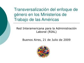 Transversalización del enfoque de género en los Ministerios de Trabajo de las Américas
