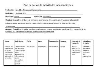 Plan de acción de actividades independientes