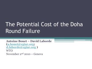 The Potential Cost of the Doha Round Failure