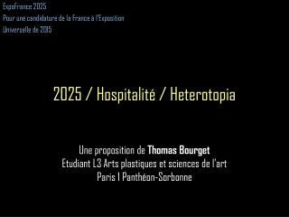 ExpoFrance  2025 Pour une candidature de la France à l'Exposition Universelle de 2015