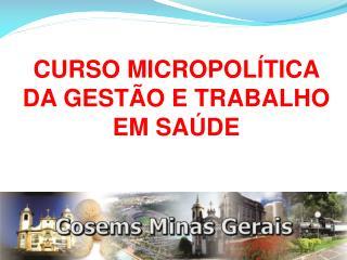 CURSO MICROPOLÍTICA DA GESTÃO E TRABALHO EM SAÚDE