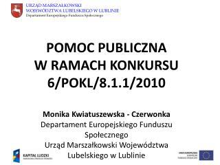 POMOC PUBLICZNA           W RAMACH KONKURSU 6/POKL/8.1.1/2010 Monika Kwiatuszewska - Czerwonka