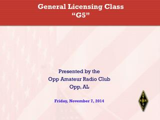 "General Licensing Class ""G5"""