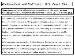 Development and Health Model Answer – 2010 – Paper 2 - Q6 (a)
