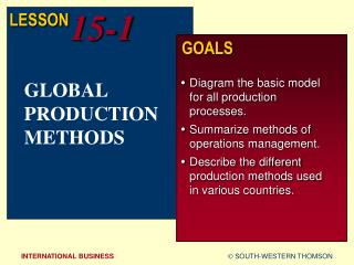 GLOBAL PRODUCTION METHODS