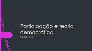Participação e teoria democrática
