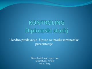 KONTROLING Diplomski studij