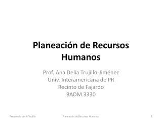 Planeaci�n de Recursos Humanos