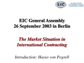 EIC General Assembly 26 September 2003 in Berlin