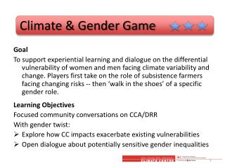 Climate & Gender Game